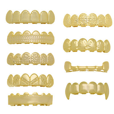 New Universal Fit 14k Gold Plated  Hip Hop Teeth Vampire Grillz Top Grill combo