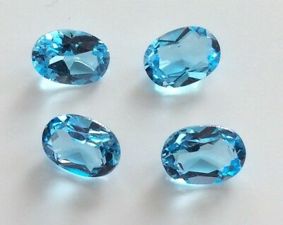 4 PC OVAL CUT SHAPE NATURAL BLUE TOPAZ 6x4MM FACETED LOOSE GEMSTONES
