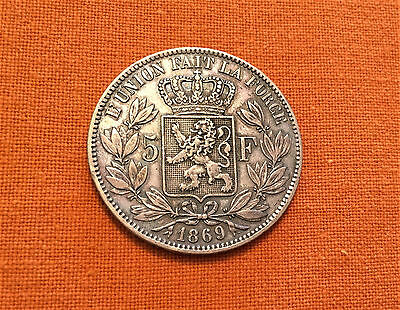 1869 Belgium ** 5 FRANCS ** Large SILVER Coin ** 90% ** Leopold II ** VF/gVF