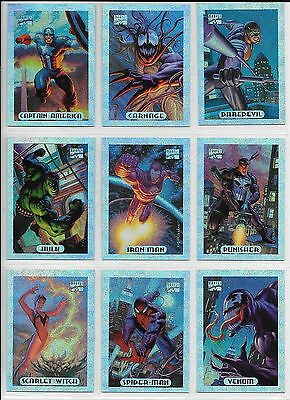 94 Marvel Masterpieces Complete SILVER HOLOFOIL 1-10 Limited Insert Set NM/M
