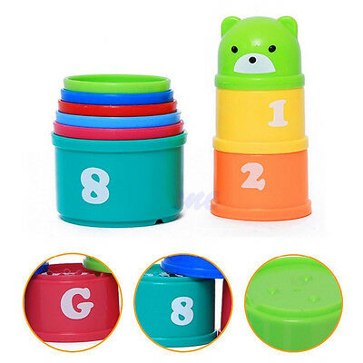Colorful 1 Set Baby Kids Educational Toy Figures Letters Folding Cup Pagoda