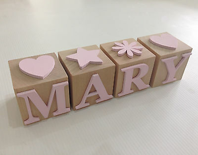 Personalised Name Letter Block, Natural Wood with Pink Letters