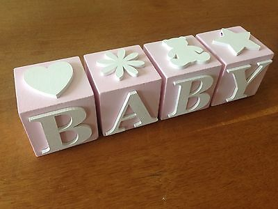 Baby Girl Letter Blocks, Pink with White Letters