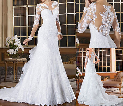 Womens New White Ivory Mermaid Long Sleeve Lace Bride Gown Wedding Dresses 2017+