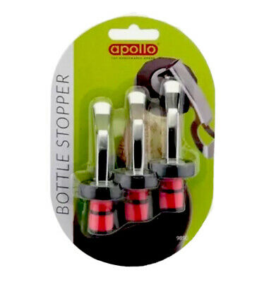 Pack of 3 Bottle Stoppers - Perfect for Champagne, Wine, Beer Apollo Branded