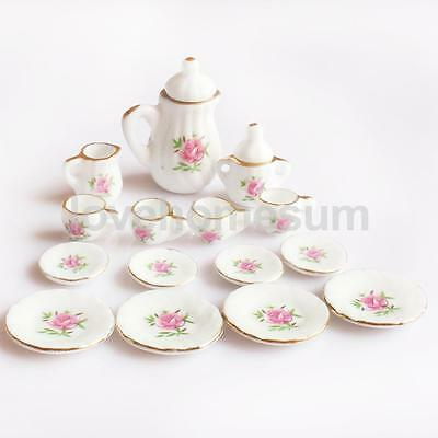 15 Pieces Dollhouse Miniature Dining Ware Porcelain Tea Set for Kids Pink