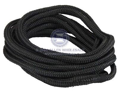 Black Mooring Line - 12mm X 6m - Soft Braided UV Stabilised Polyester