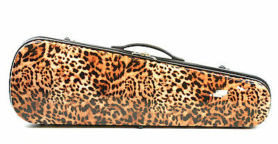 Lightweight Leopard Pattern Dart Violin Case 4/4 Size Many Features PET Shell