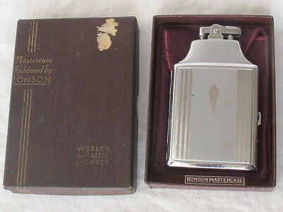 Ronson Vintage 1950's Mastercase Lighter-Cigarette Case in Original Box Pouch