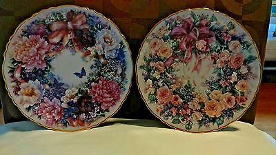 "2 Piece Plate Set Bradford Exchange,""Floral Greeting from Lena Liu"" Circle Of."