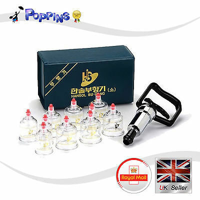 HANSOL CUPPING SET 10CUPS Slimming CUPPING Massage Acupuncture, Vacuum Therapy