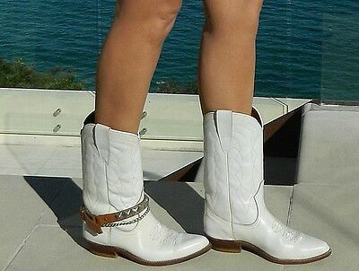 VINTAGE Rio 1960s-70s Original Western White Leather Cowboy Boots Size 8-8.5