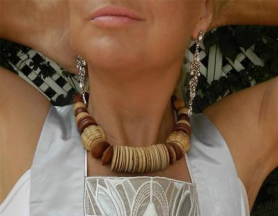 VINTAGE Boho 1980s Original Tribal Chunky Wooden Retro Necklace