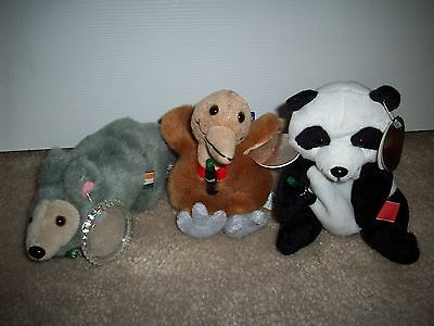 Lot of 3 Coca Cola PANDA Aardvark KIWI Plush Bean Bag Stuffed Animals w/ Tags