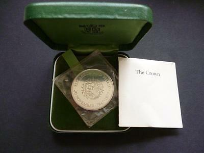 1972 Silver Proof Crown  Coin The Queens Silver Wedding, Cased With Leaflet.