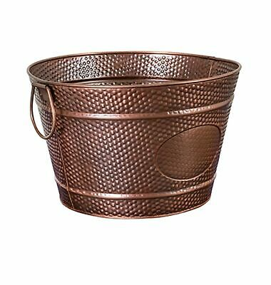 NEW MODA ROUND BEVERAGE TUB ANTIQUE COPPER PLATED Wine Champagne Bucket 35x22cm