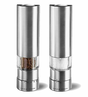NEW Cole & Mason Greenwich Electronic Salt and Pepper Electric Mill Grind