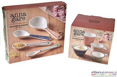 NEW ANNA GARE MEASURING CUPS AND SPOONS SET Porcelain Cup Measure Kitchen