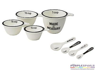NEW DAVIS AND WADDELL TYPESET MEASURING CUPS & SPOON SET Porcelain Measure Cup