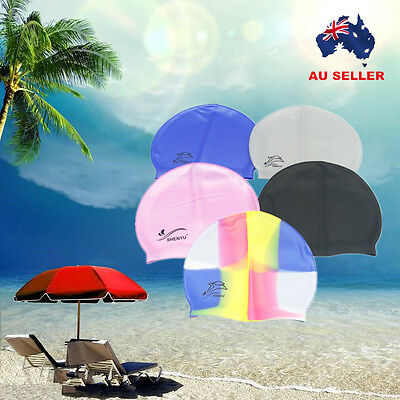 Silicone Waterproof Swimming Cap Adults Unisex Men Women Kids Swim Hat AU