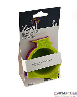 NEW ZEAL SILICONE CAT MUFFIN MOULDS Feline Cup Cake Cupcake Mould Pan SET 4