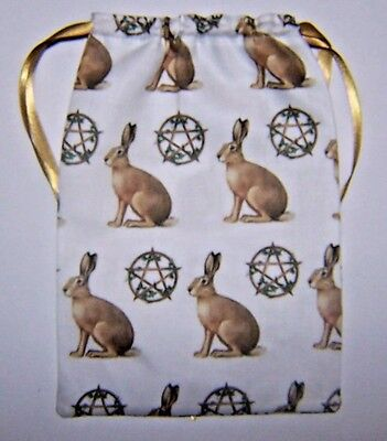 Hare & Pentacle Tarot Card Bag ideal for most fairy angel & Wicca tarot cards