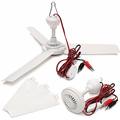 DC12V 6W 3 Leaves Brushless Converter Motor Battery Ceiling Fan+Switch+Clip