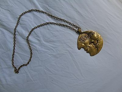 Vintage Brass Moon medallion Light Switch Cord Pull Handle half moon gold chain