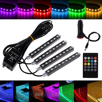 Car Interior RGB color LED 4*Strip Light Atmosphere Decorative SMD Neon Lamp 12V