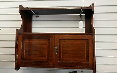 antique inlaid wall cabinet with key