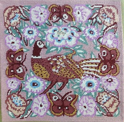 Vtg Ehrman Kaffe Fassett 'Pheasant' embroidered tapestry needlepoint panel