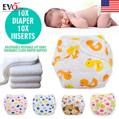 New Adjustable 10 PCS+10 INSERTS Reusable Lot Baby Washable Cloth Diaper Nappies