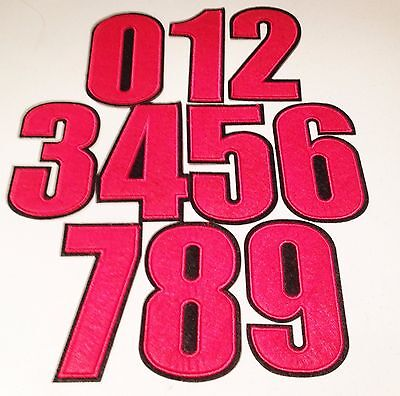 ANY 1 Large Red Embroidered Numbers Iron on / Sew Motif / Patch