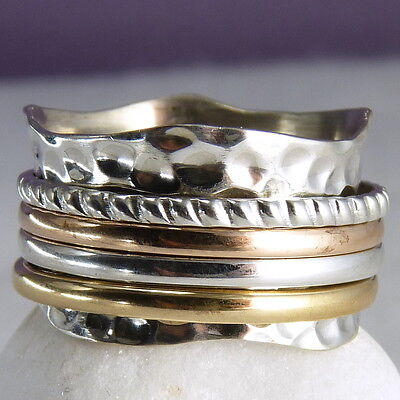 ORNATE WAVE 4 SPIN SPINNER Size US 9.75 SilverSari Fidget Ring Solid 925 Silver