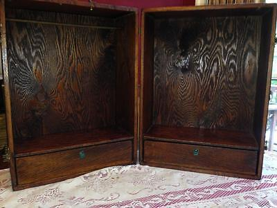 """Vintage Hand Made Trunk Chest Doll Wardrobe Armoire 19"""" High by 12"""" x 14"""" Wood"""