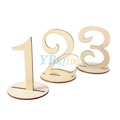 With Holder Base Wedding Birthday Party of Cute Wooden 1-10 Table Numbers Set