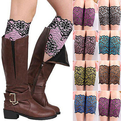 Women Boots Cuffs Cover Toppers Soft Stretch Floral Lace Leg Warmers Knee Socks