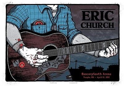 2012 Eric Church Tupelo Guitarist Concert Poster 4/12 Ap S/n Bancorpsouth Ms