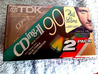 CASSETTE TAPES BLANK SEALED - 2 x (two)  TDK CDing-II 90 [1993] Phill Collins
