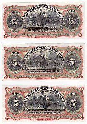 COSTA RICA: BANKNOTE - 3 X 5 COLONES 1908 REMAINDER WOMAN RUNNING SERIES - S173r