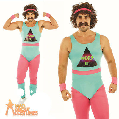Mens 80s Fitness Instructor Costume Mr Motivator Aerobics Fancy Dress Outfit
