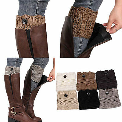 Women's Knitted Button Boots Cuffs Cover Crochet Toppers Leg Warmers Knee Socks