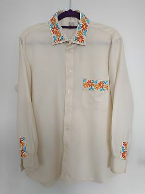 Vintage 60's Shirt – Men's Casual/Formal + embroidered floral pattern – Medium
