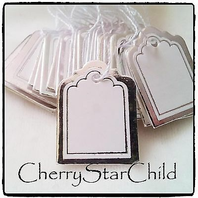 50 x silver gilded white price tags for bracelet necklace jewellery