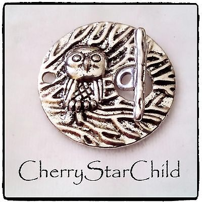 silver pl polished embossed toggle owl feature clasp bracelet necklace