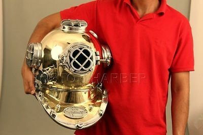 Anchor U.s Navy Diving Divers Helmet Solid Brass Full Size 18 Inche