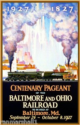 1927 Baltimore Maryland Pageant Vintage Railroad Travel Advertisement Poster