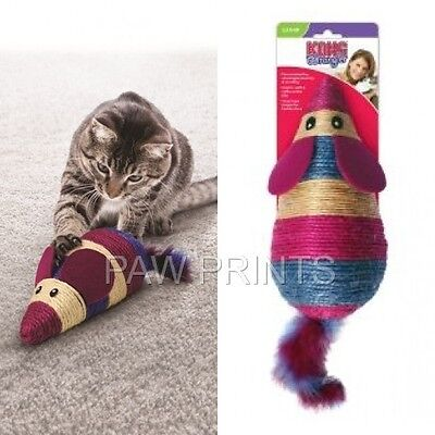 KONG WRANGLER LARGE MOUSE CAT KITTEN SISAL SCRATCH CATNIP TOY 29cm + FEATHER