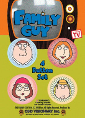 The Family Guy Peter Lois Meg and Chris Images Carded Button Set of 4 NEW SEALED