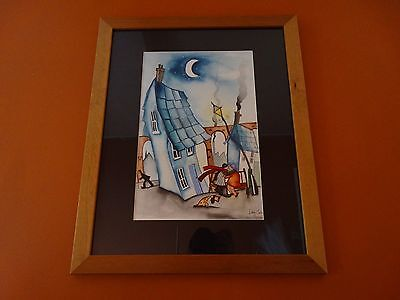Lucy Collins Original Watercolour Painting Framed Signed 41 X 29cm